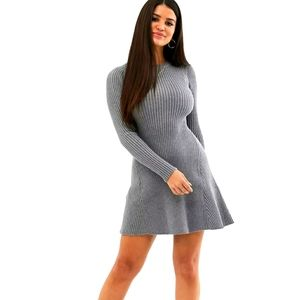 American Eagle Ribbed Gray Sweater Dress Swing Casual Trendy Basic